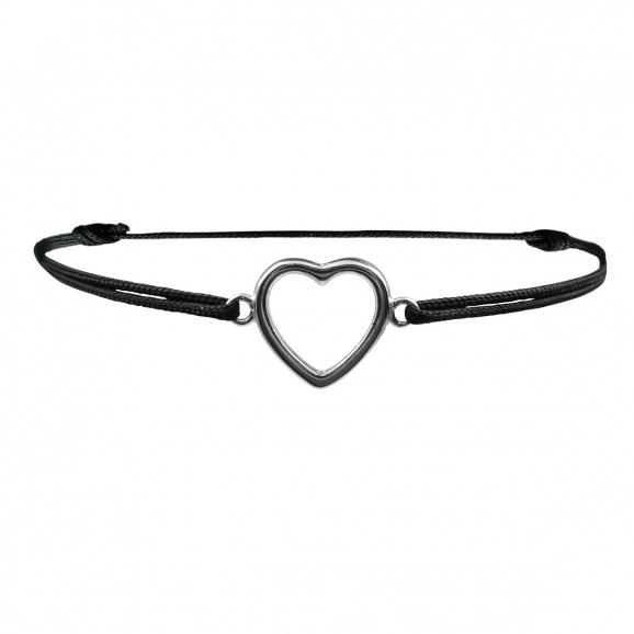 Bracelet mode réglable avec coeur en argent