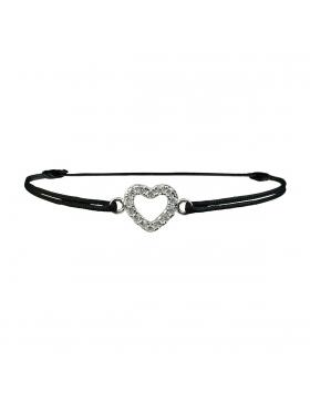 Bijoux : Bracelet cadeau de Noël : coeur en strass et argent