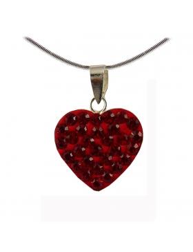 Saint Valentin : pendentif coeur en strass rouge