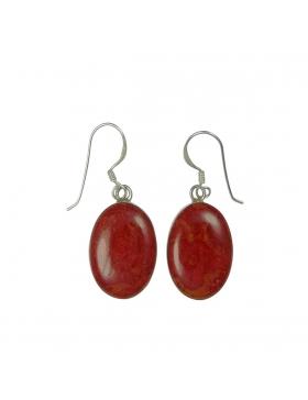 Boucles d'oreilles gorgone rouge petites ovales