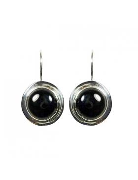 Boucles d'oreille en argent et agate noire