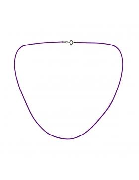 Cordon en cuir violet 40 cm - type tube