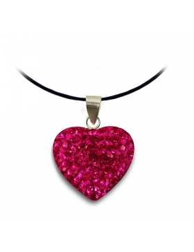 Bijoux oxyde de zirconium strass et argent cœur rose fuchsia