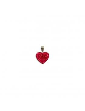 Bijoux oxyde de zirconium strass argent petit cœur rouge