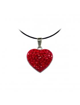 Bijoux oxyde de zirconium strass et argent cœur rouge