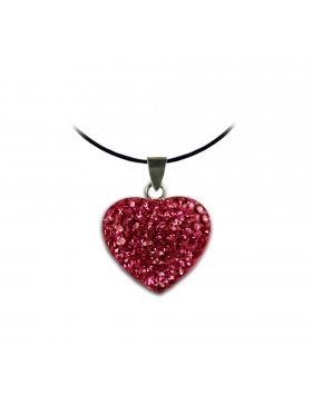 Bijoux oxyde de zirconium strass et argent cœur rose