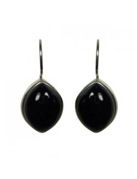 Boucles d'oreilles en argent et agate noire