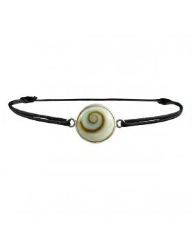 Bracelet oeil de Sainte Lucie rond avec cordon noir réglable 1 cm diametre