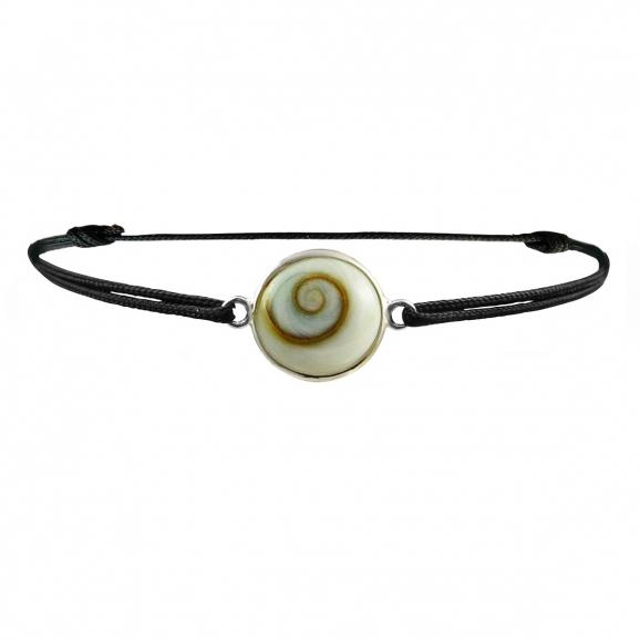 Bracelet oeil de Sainte Lucie argent sur cordon noir réglable