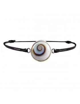 Bracelet oeil de Sainte Lucie argent sur cordon noir réglable diametre 1,7 cm