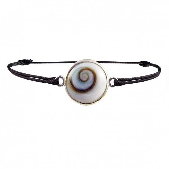 Bracelet oeil de Sainte Lucie argent sur cordon noir réglable diametre 2 cm