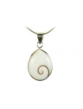 pendentif Œil de Sainte-Lucie-Pendentif blanc - coquillage et argent