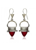 Boucles d'oreilles en argent style ethnique touareg en verre rouge