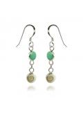 Boucles d'oreilles en oeil de sainte lucie et une petite pierre en turquoise