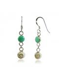 Boucles d'oreilles en oeil de sainte lucie et argent 925 avec une turquoise