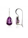 Boucles d'oreilles améthyste forme goutte d'eau pierre violette