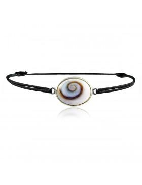 Bracelet oeil de Sainte Lucie ovale cordon noir