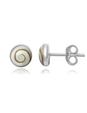 Clous boucles d'oreilles en oeil de Sainte - Lucie 8 mm rondes