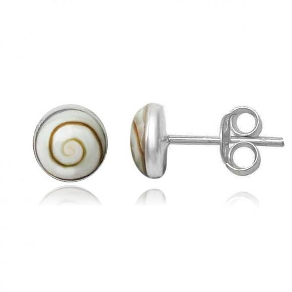 Clous / boucles d'oreilles en Oeil de Sainte Lucie rondes 8 mm shiva eyes femme