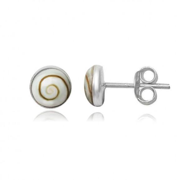 Clous d'oreilles en oeil de Sainte- Lucie 7 mm rondes pour femme argent