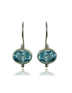 Boucles d'oreilles topaze bleue – ovales - argent 925