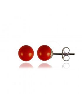 Clous boucles d'oreilles corail rouge boules perles