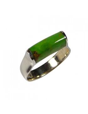Bague argent et Gaspéite pierre fine verte