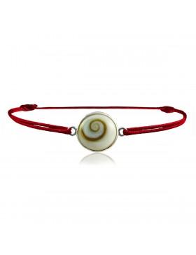 Bracelet oeil de Sainte Lucie (cordon rouge réglable 1 cm diametre)