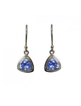 Bijoux boucles d'oreille en Quartz de Siberie bleu triangulaire - argent