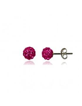 Clous Boucles d'oreilles strass rose bonbon et argent