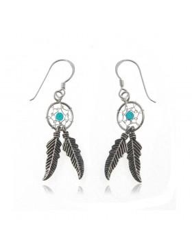 Boucles d'oreilles dreamcatcher turquoise