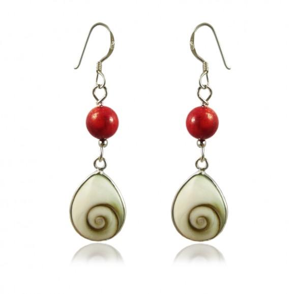 Boucles d'oreilles Oeil de sainte Lucie et corail