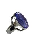 Bague en pierre semi-précieuse: quartz de Sibérie -bleu