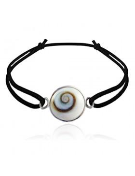 Bracelet oeil de Sainte Lucie rond avec cordon noir élastique 1,4 cm diametre