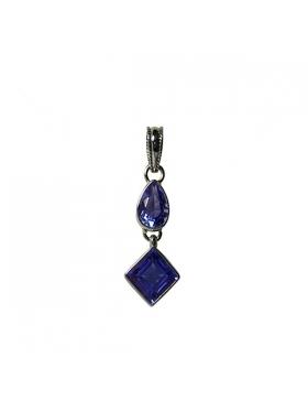 Pendentif pierre fine et argent - quartz bleu