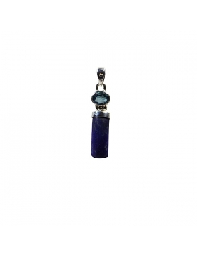 Pendentif lapis lazuli et topaze bleue, argent
