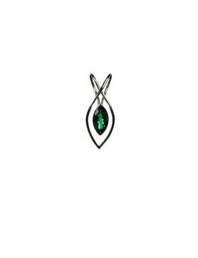 Pendentif quartz vert et argent