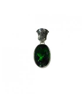 Magnifique quartz vert, pendentif argent
