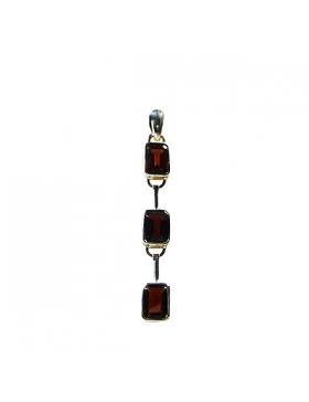 Bijou - pendentif trois grenat - pierre semi-precieuse