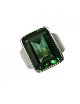 Bague quartz vert, argent