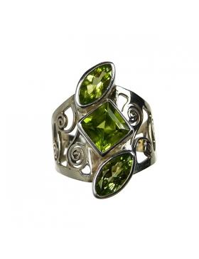 Bijoux en Péridot - Bague pierre verte