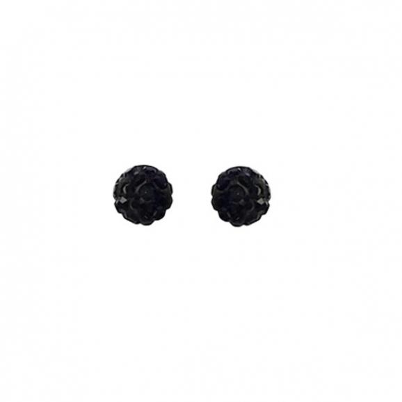 Puces en zirconium noir et argent forme boule
