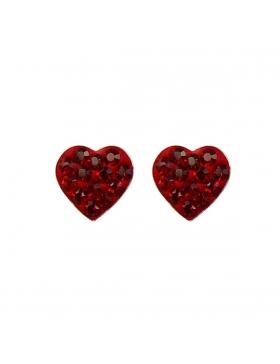 Clous oreilles cœurs rouges strass argent