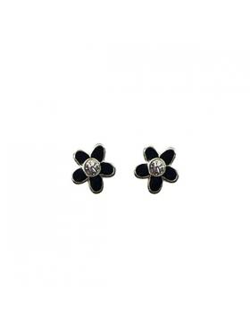 Boucles d'oreilles fleur argent et oxyde de zirconium.