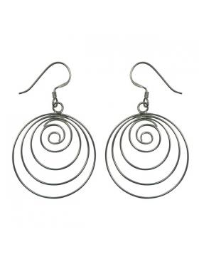 Boucle d'oreille spirale en argent