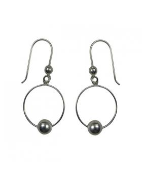 Boucles d'oreilles argent - anneaux et boules d'argent