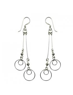 Boucles d'oreilles abstraite argent et spirales