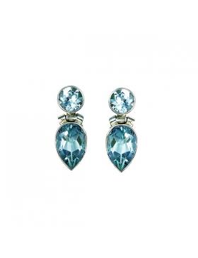 Topaze bleue : boucles d'oreille topaze