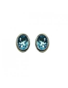 Boucles d'oreille topaze bleue et argent