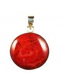 pendentif rond corail rouge - saint valentin